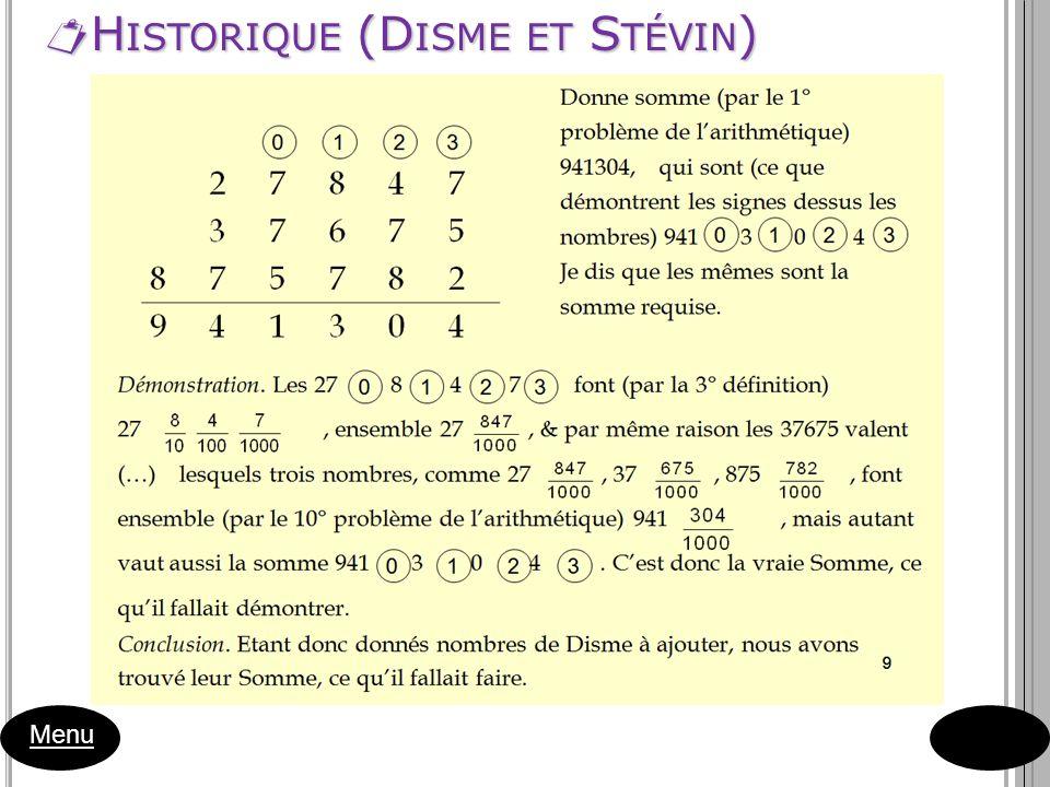 Historique (Disme et Stévin)