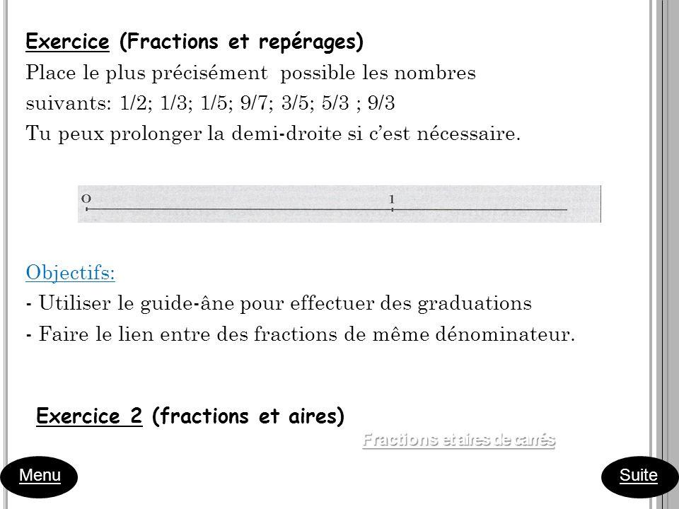 Exercice (Fractions et repérages)