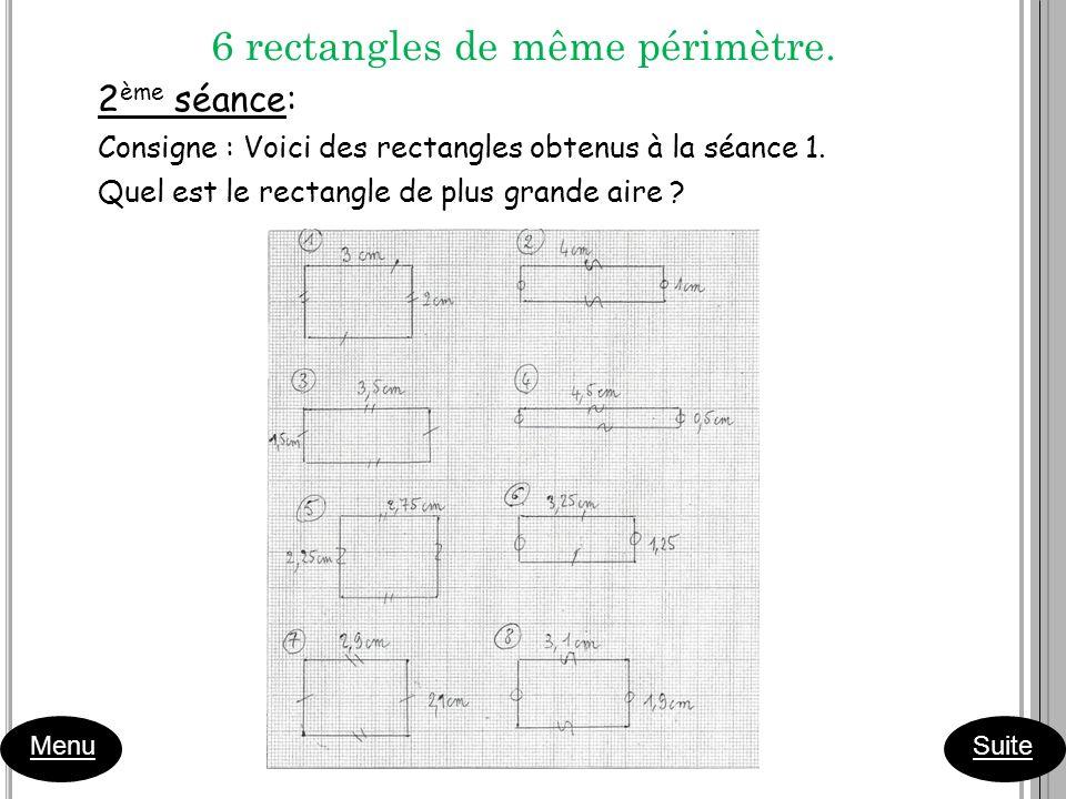 6 rectangles de même périmètre.