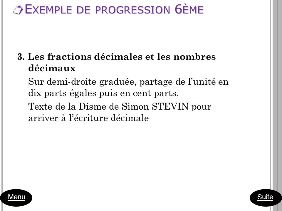 Exemple de progression 6ème