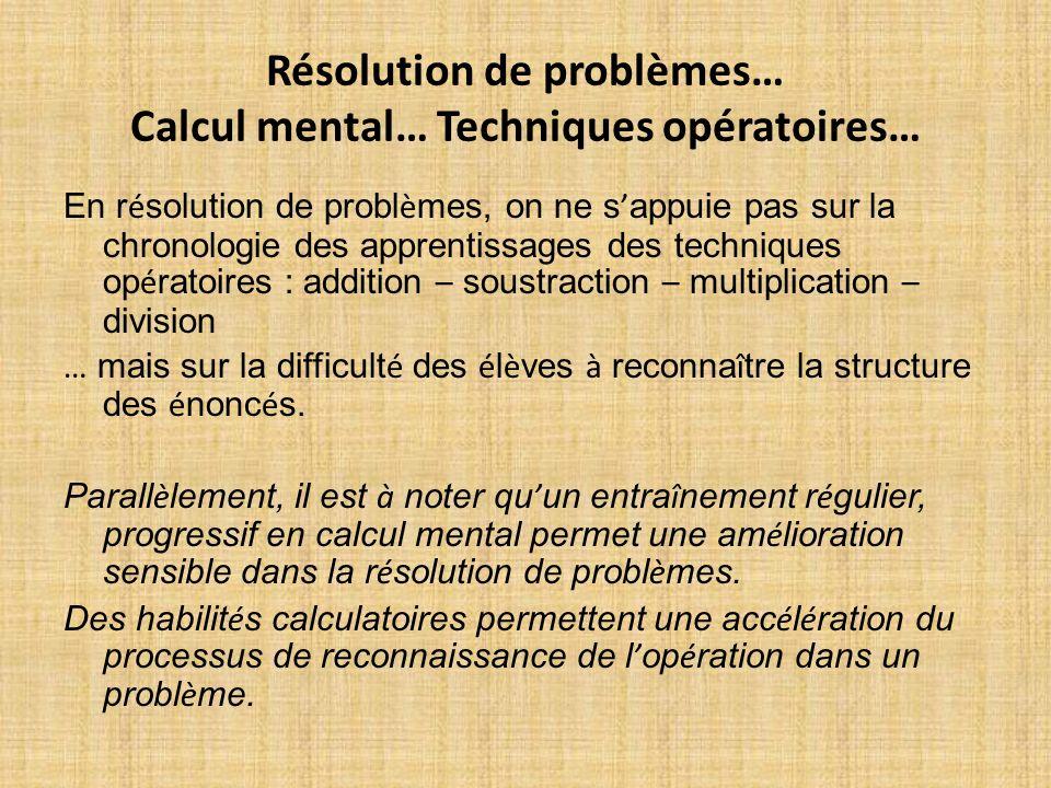 Résolution de problèmes… Calcul mental… Techniques opératoires…