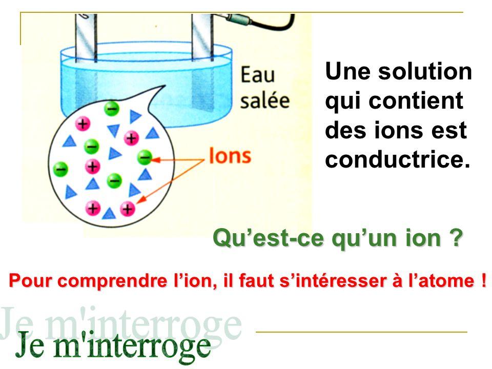 Une solution qui contient des ions est conductrice.