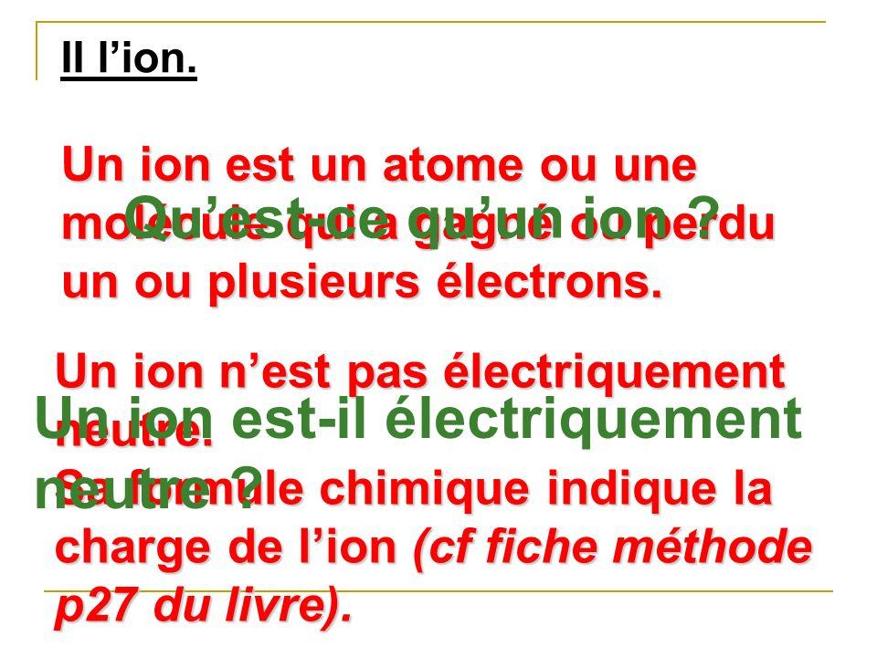 Un ion est-il électriquement neutre