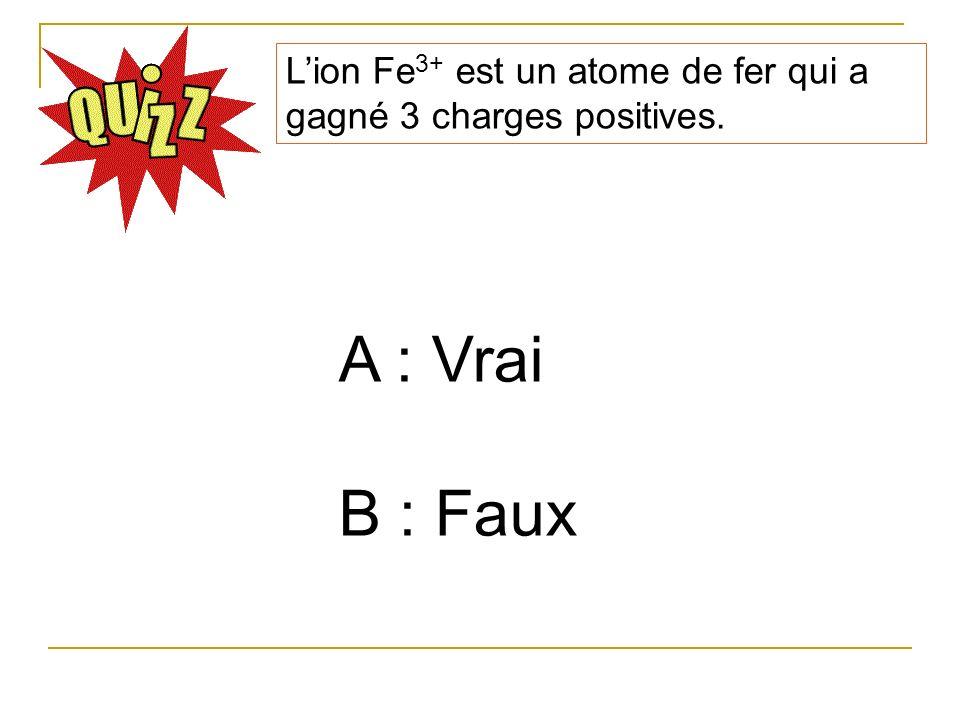 L'ion Fe3+ est un atome de fer qui a gagné 3 charges positives.