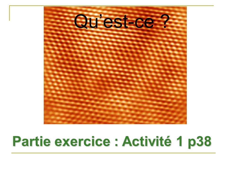 Qu'est-ce Partie exercice : Activité 1 p38