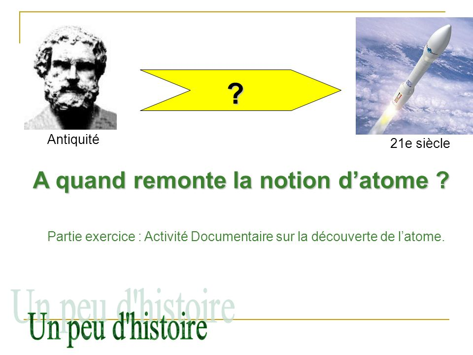 A quand remonte la notion d'atome Un peu d histoire Antiquité