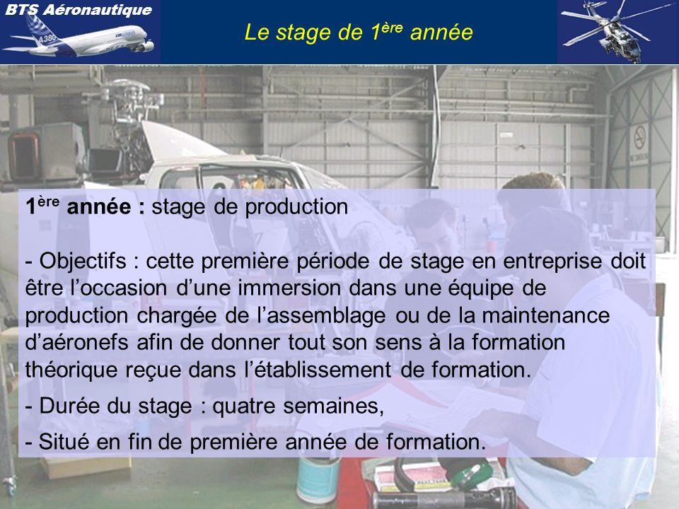 Le stage de 1ère année 1ère année : stage de production.