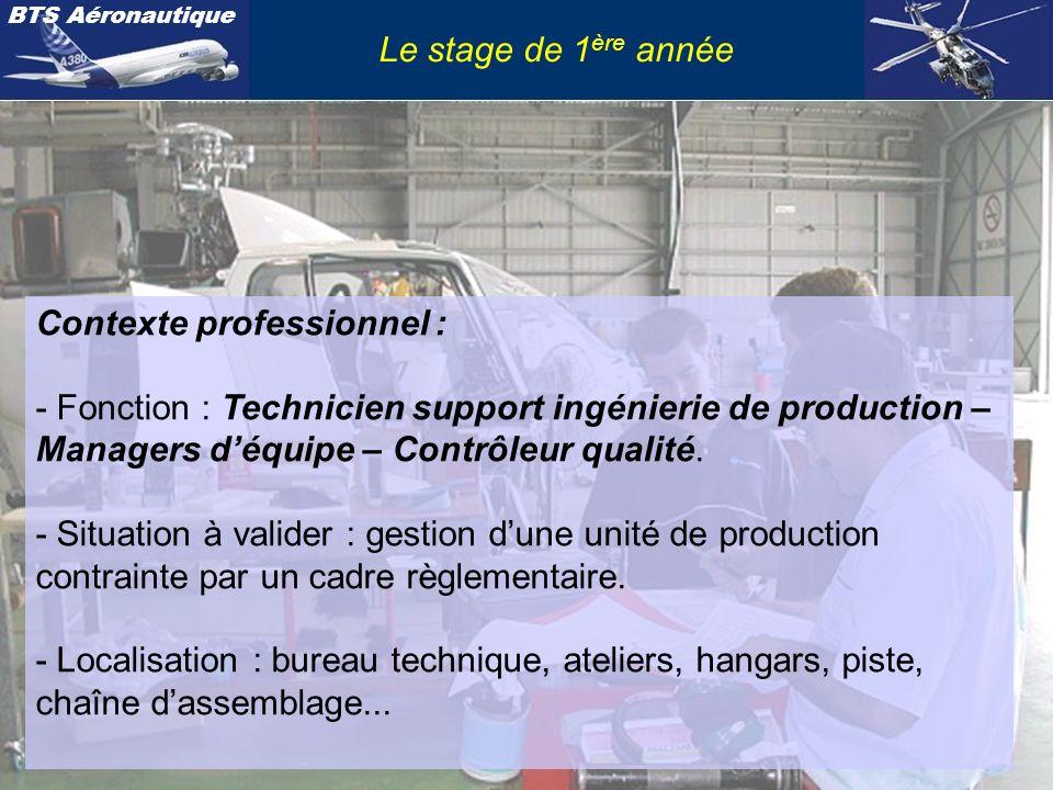 Le stage de 1ère année Contexte professionnel : - Fonction : Technicien support ingénierie de production – Managers d'équipe – Contrôleur qualité.