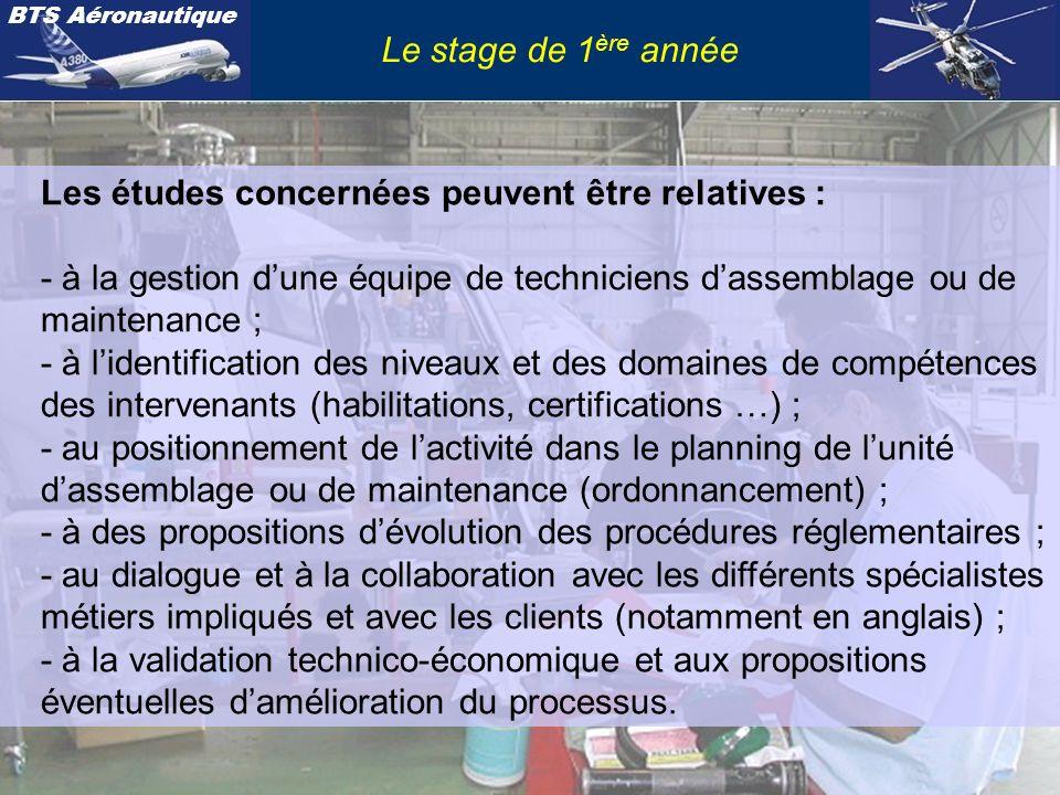 Le stage de 1ère année Les études concernées peuvent être relatives : - à la gestion d'une équipe de techniciens d'assemblage ou de maintenance ;