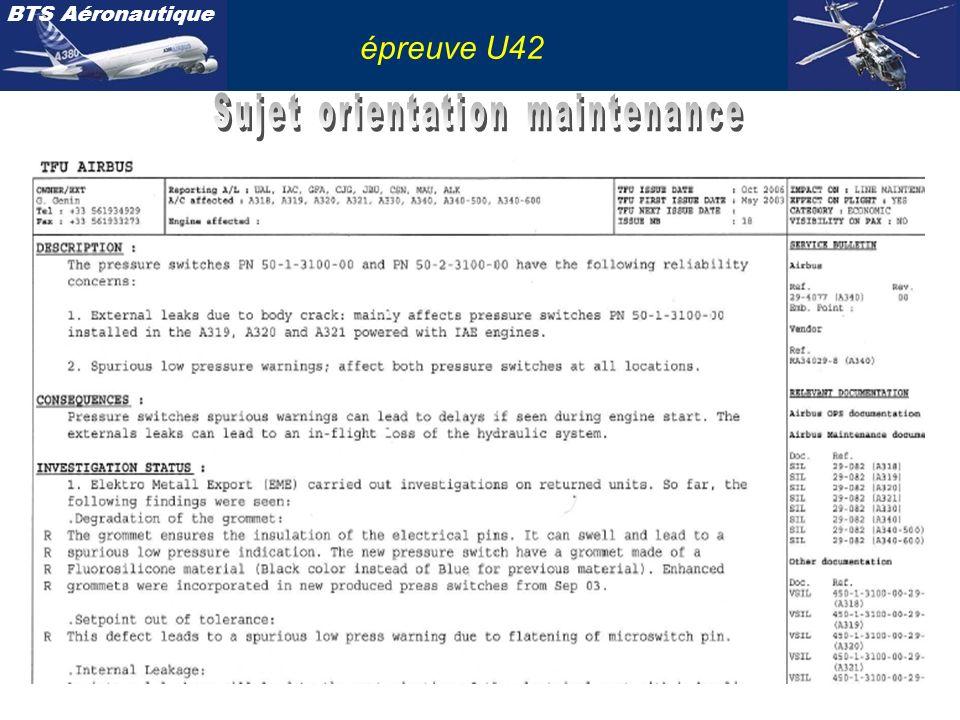 Sujet orientation maintenance