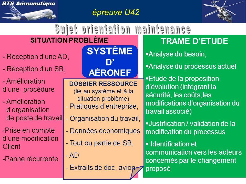SYSTÈME D' AÉRONEF épreuve U42 Sujet orientation maintenance