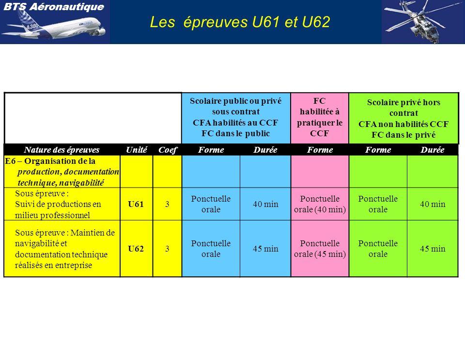 Les épreuves U61 et U62 Scolaire public ou privé sous contrat