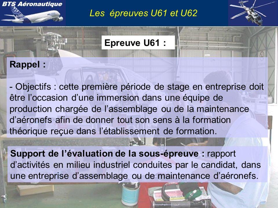 Les épreuves U61 et U62 Epreuve U61 : Rappel :