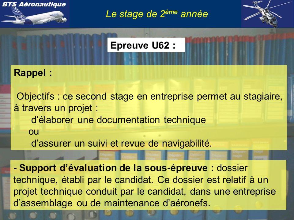 Le stage de 2ème année Epreuve U62 : Rappel : Objectifs : ce second stage en entreprise permet au stagiaire, à travers un projet :