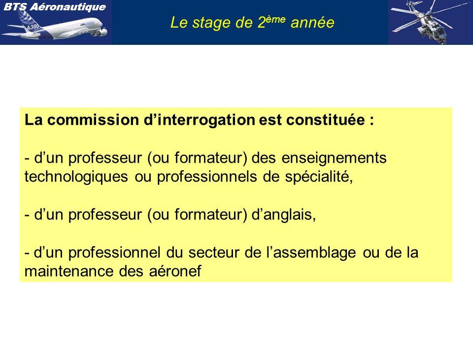 Le stage de 2ème année La commission d'interrogation est constituée :