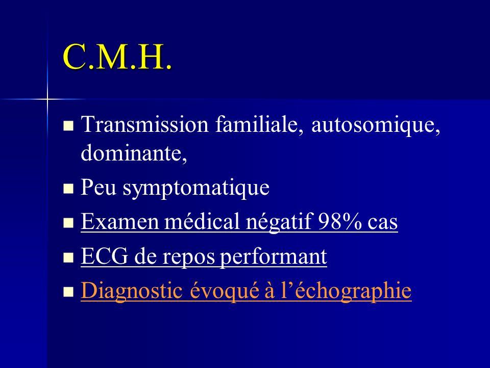 C.M.H. Transmission familiale, autosomique, dominante,