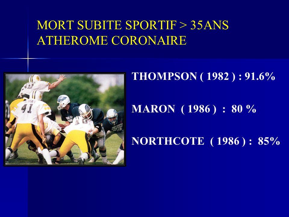 MORT SUBITE SPORTIF > 35ANS ATHEROME CORONAIRE