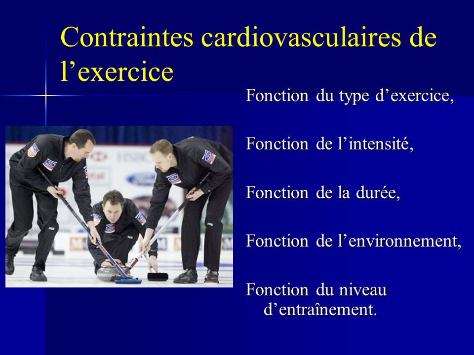 Contraintes cardiovasculaires de l'exercice