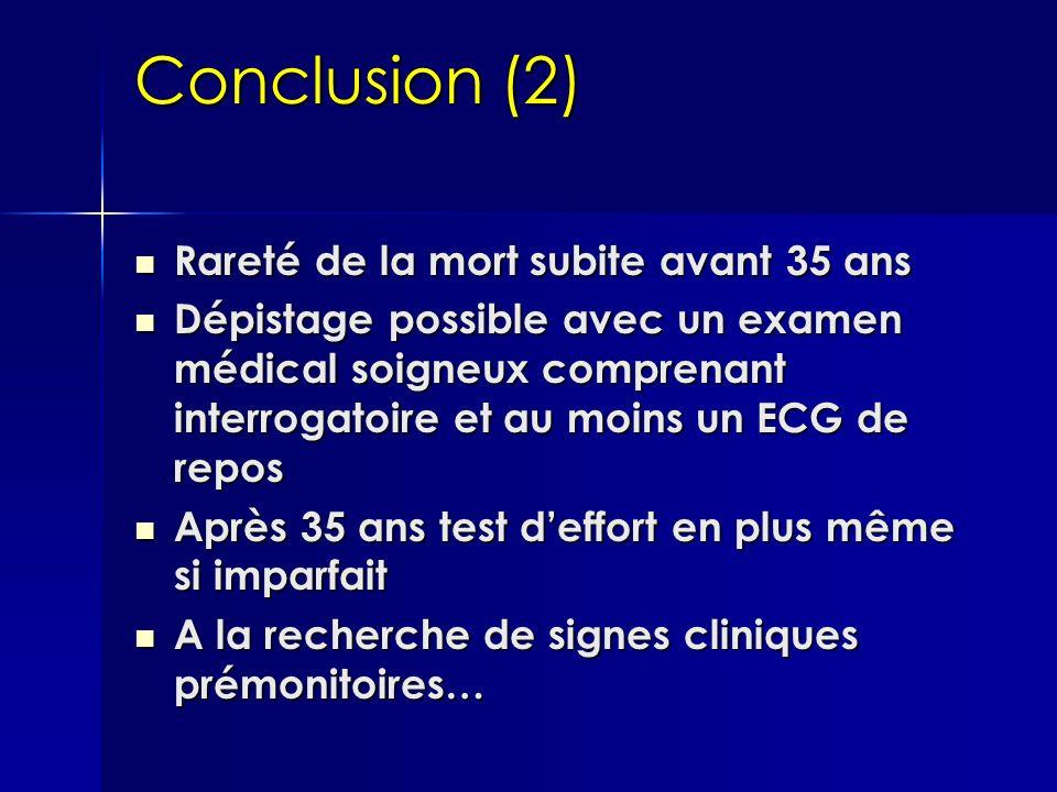 Conclusion (2) Rareté de la mort subite avant 35 ans