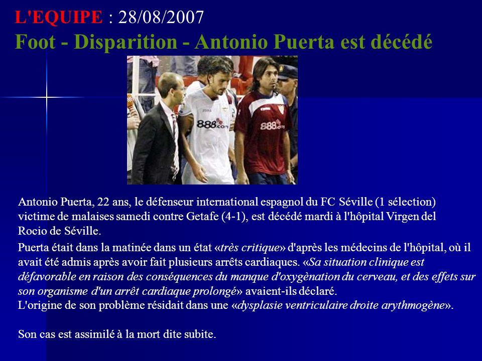 Foot - Disparition - Antonio Puerta est décédé