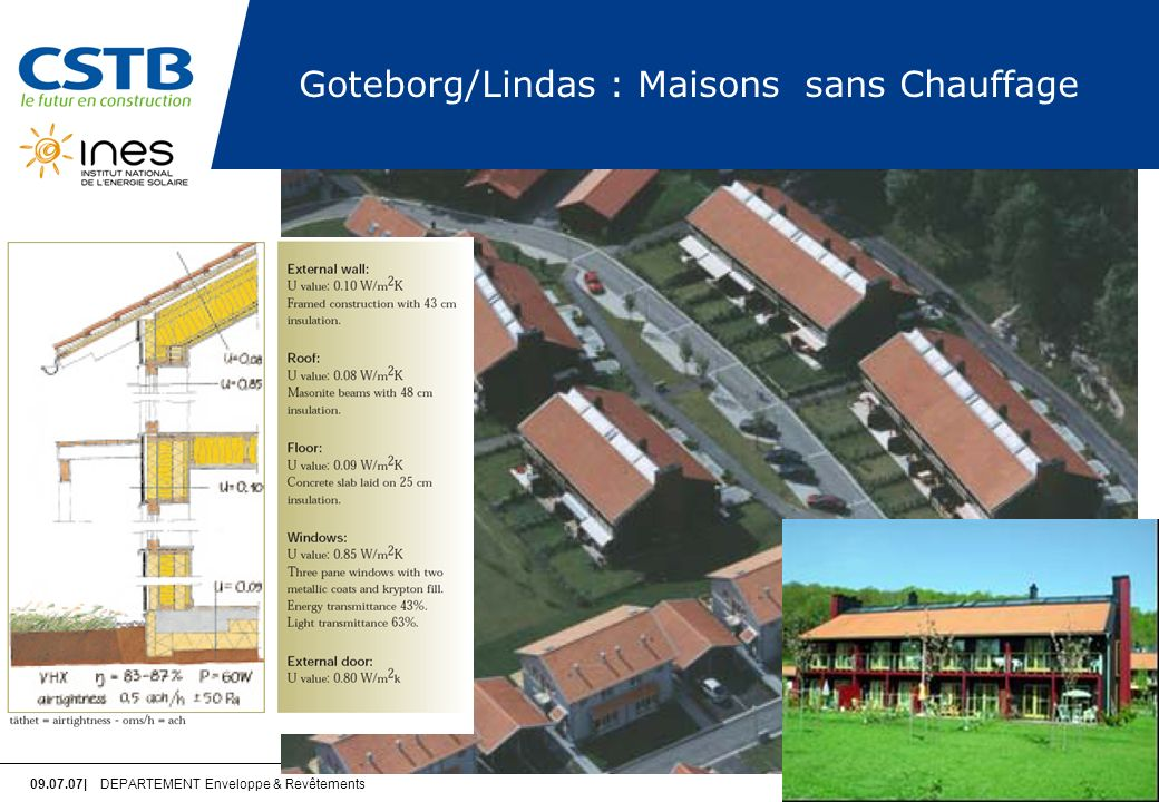 Goteborg/Lindas : Maisons sans Chauffage