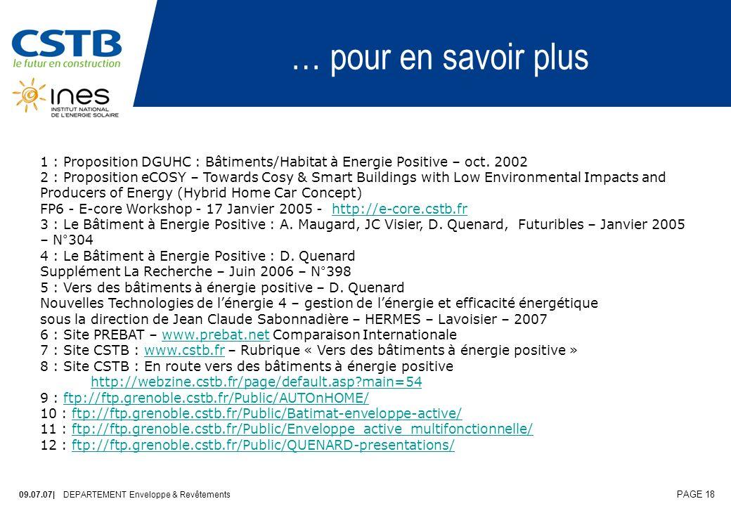 … pour en savoir plus 1 : Proposition DGUHC : Bâtiments/Habitat à Energie Positive – oct. 2002.