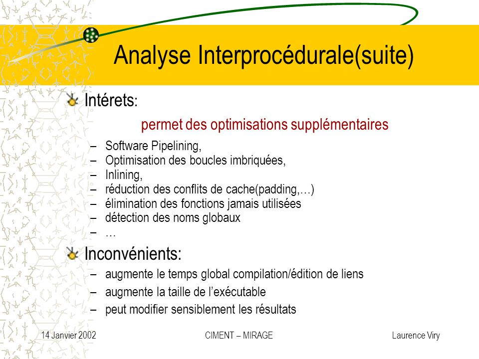 Analyse Interprocédurale(suite)