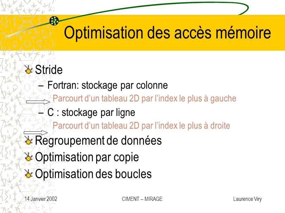Optimisation des accès mémoire