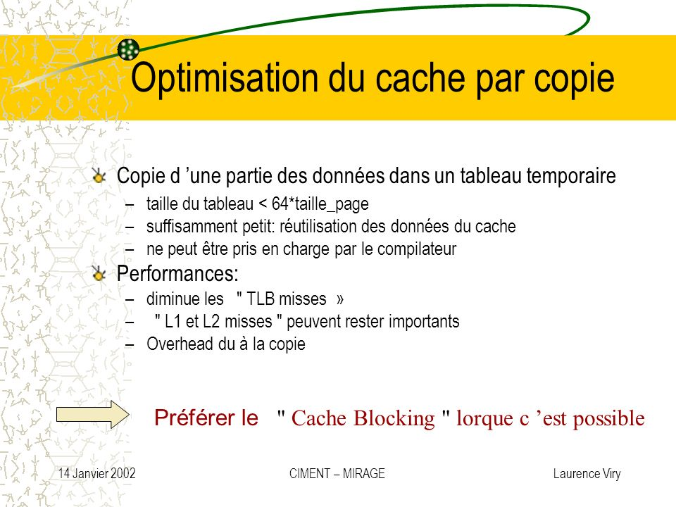 Optimisation du cache par copie