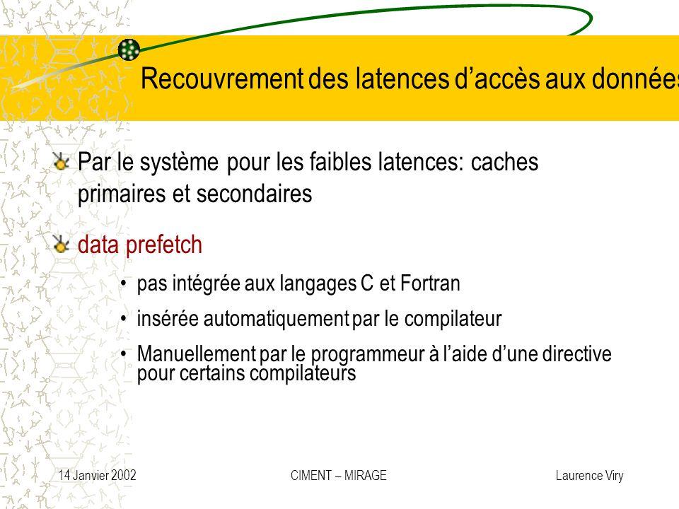 Recouvrement des latences d'accès aux données