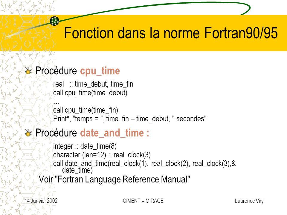 Fonction dans la norme Fortran90/95