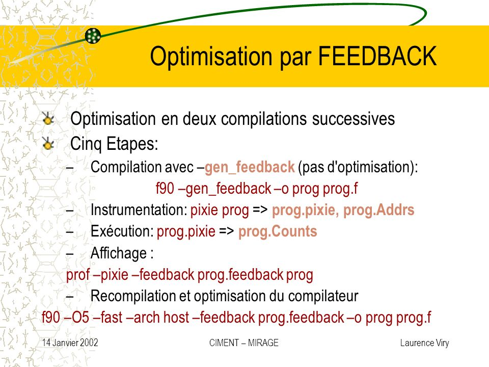 Optimisation par FEEDBACK
