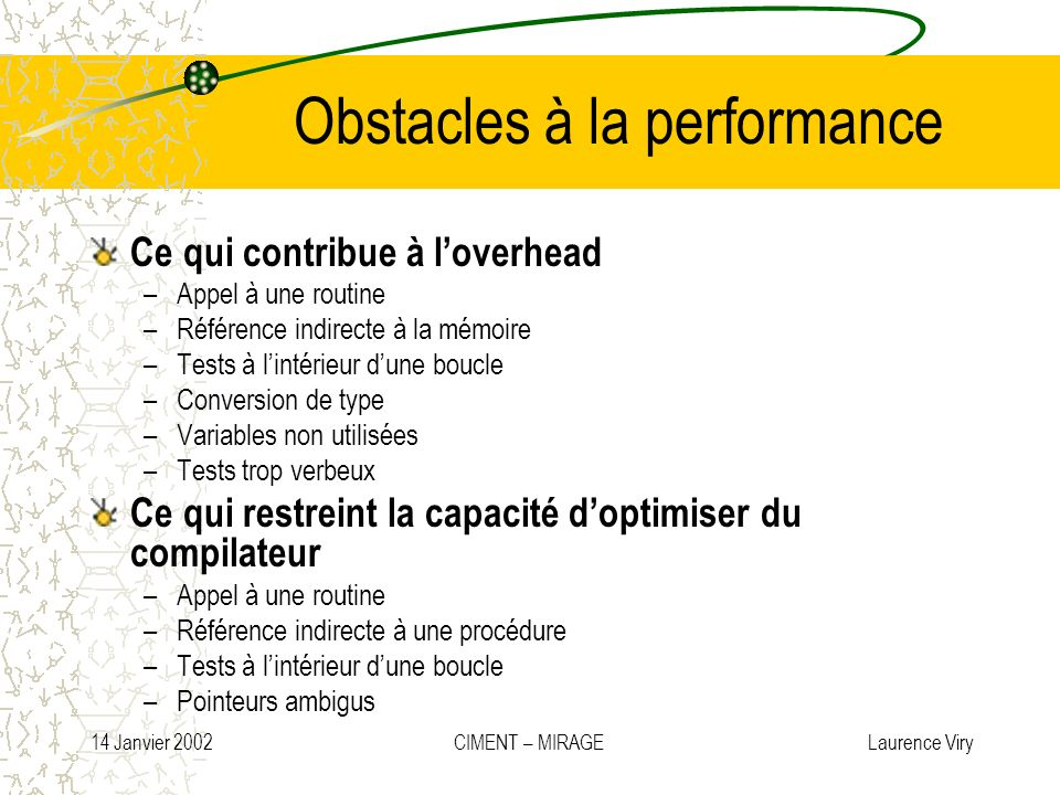 Obstacles à la performance