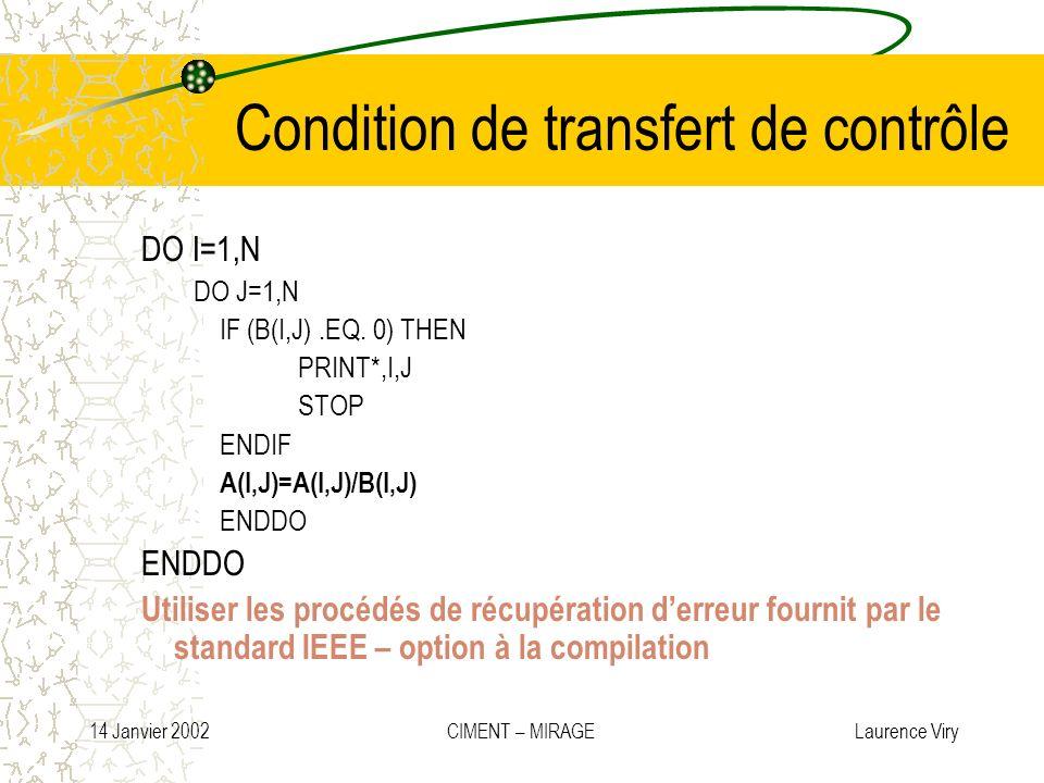 Condition de transfert de contrôle