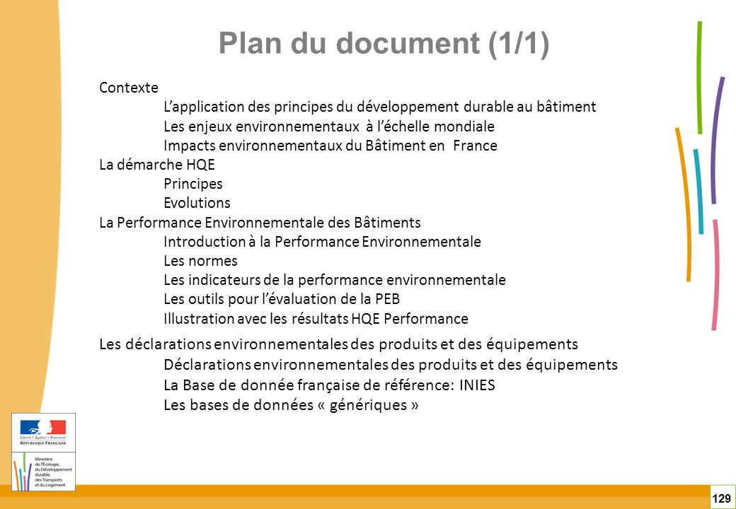 Plan du document (1/1)Contexte. L'application des principes du développement durable au bâtiment. Les enjeux environnementaux à l'échelle mondiale.
