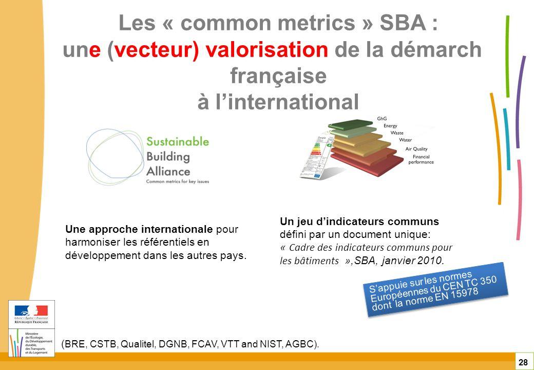 Les « common metrics » SBA : une (vecteur) valorisation de la démarche française à l'international