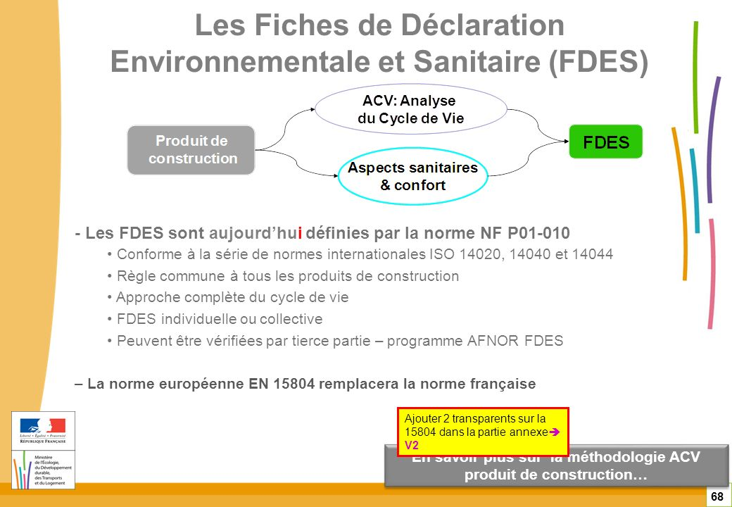 Les Fiches de Déclaration Environnementale et Sanitaire (FDES)