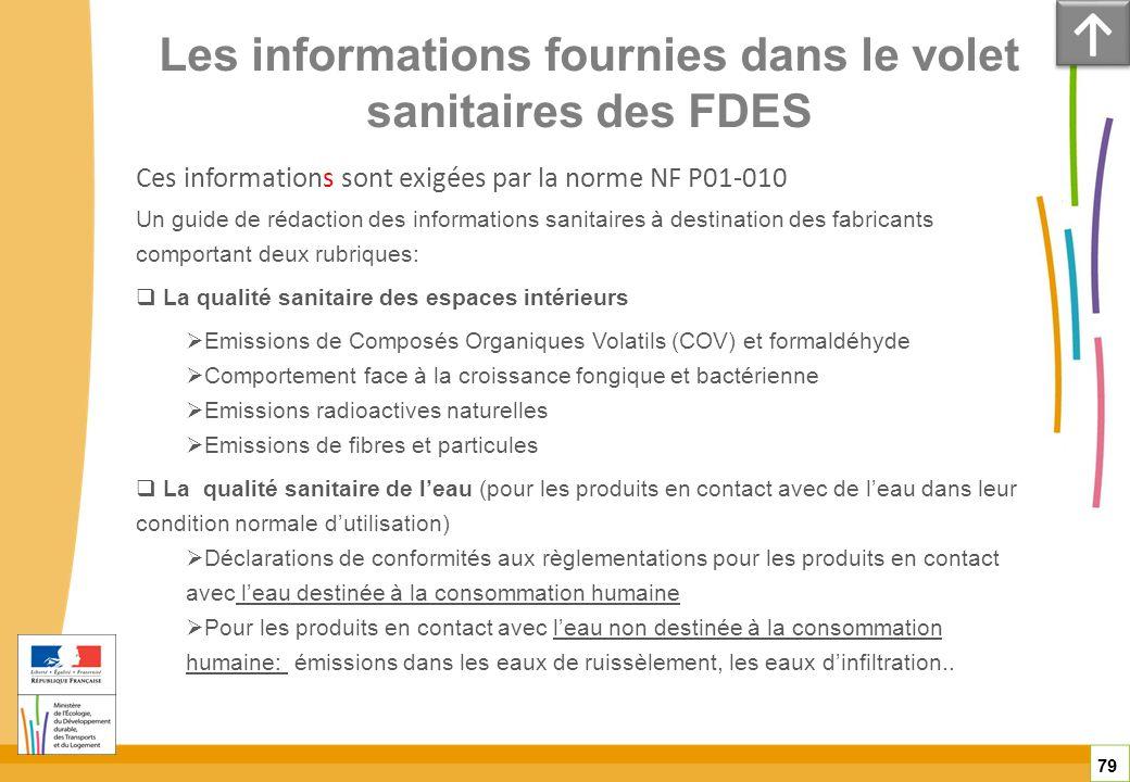 Les informations fournies dans le volet sanitaires des FDES