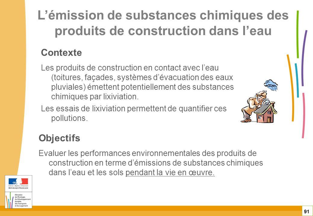 L'émission de substances chimiques des produits de construction dans l'eau