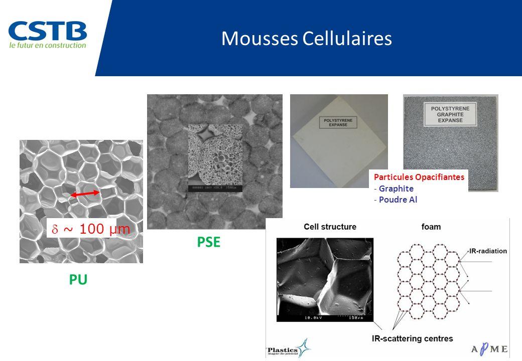 Mousses Cellulaires PSE PU d ~ 100 µm Particules Opacifiantes Graphite