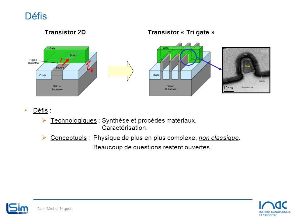 Défis Transistor « Tri gate » Transistor 2D Lg I Défis :