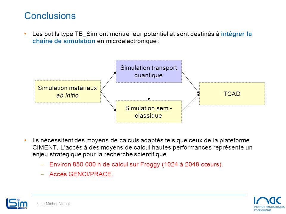Conclusions Les outils type TB_Sim ont montré leur potentiel et sont destinés à intégrer la chaîne de simulation en microélectronique :