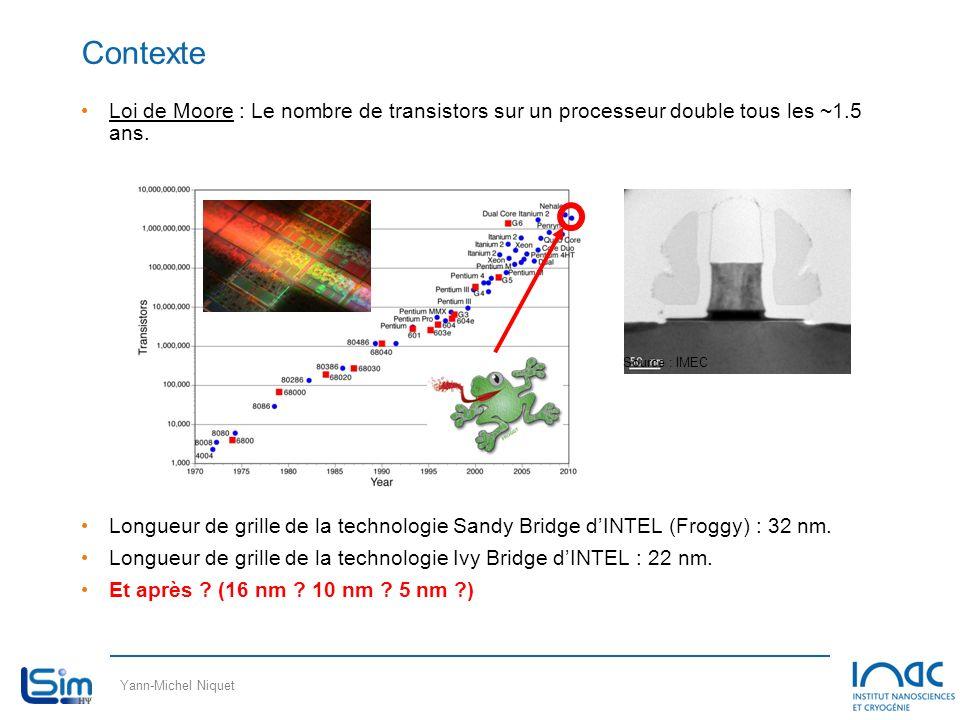Contexte Loi de Moore : Le nombre de transistors sur un processeur double tous les ~1.5 ans.
