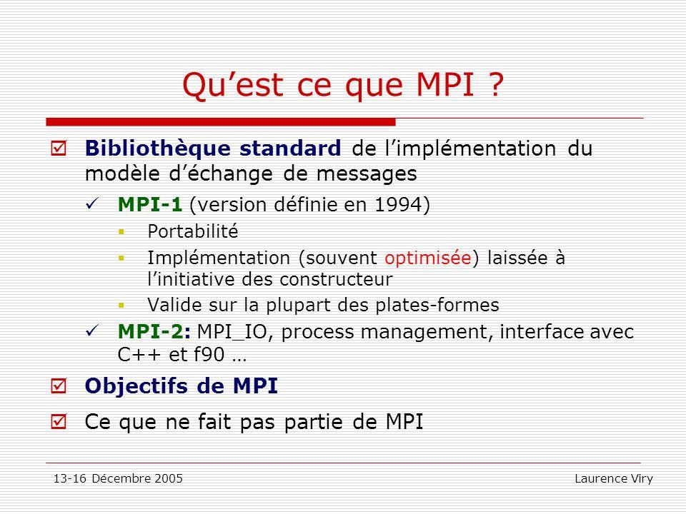 Qu'est ce que MPI Bibliothèque standard de l'implémentation du modèle d'échange de messages. MPI-1 (version définie en 1994)