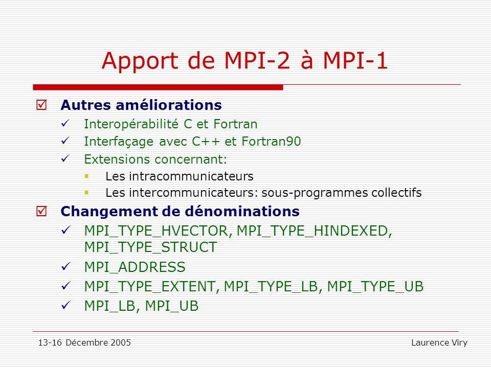 Apport de MPI-2 à MPI-1 Autres améliorations
