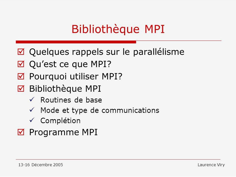 Bibliothèque MPI Quelques rappels sur le parallélisme