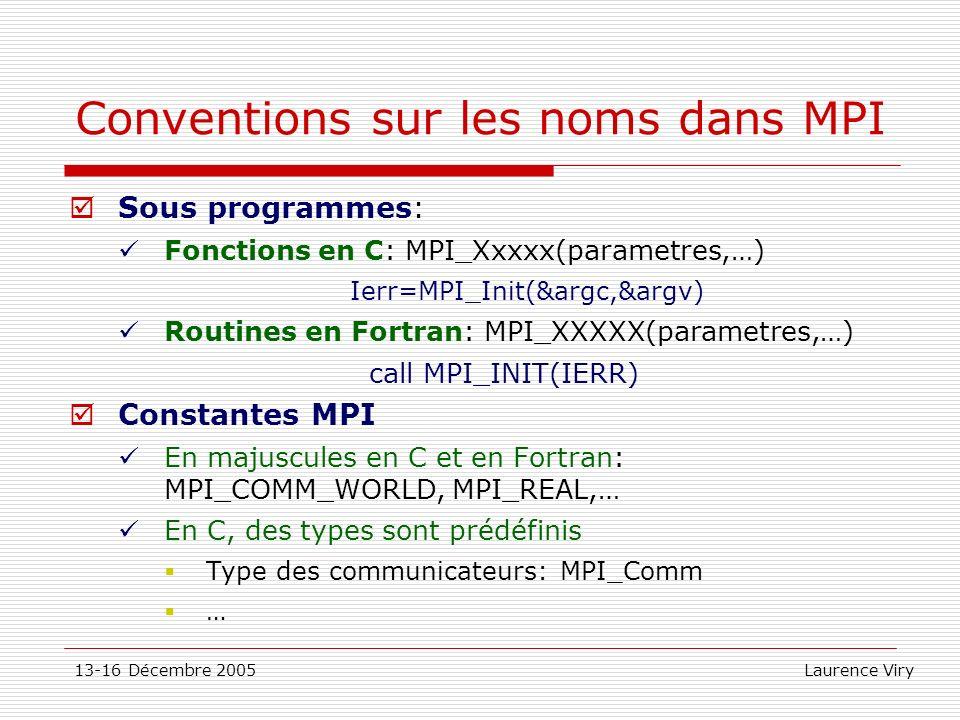 Conventions sur les noms dans MPI