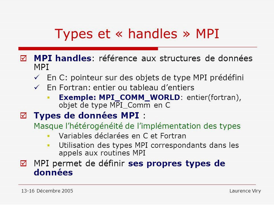 Types et « handles » MPI MPI handles: référence aux structures de données MPI. En C: pointeur sur des objets de type MPI prédéfini.