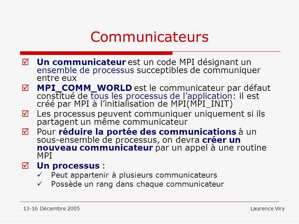 Communicateurs Un communicateur est un code MPI désignant un ensemble de processus succeptibles de communiquer entre eux.