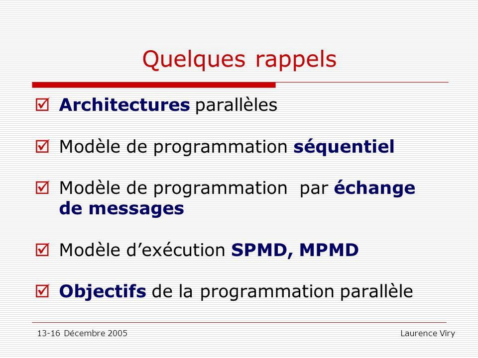 Quelques rappels Architectures parallèles